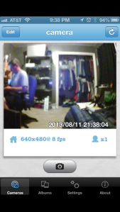 Figure 1: A live video view using the iPhone PlugnView app.