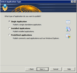Figure 3: Select the type of application to publish.