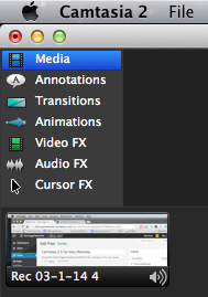 Camtasia Editor Effects Menu